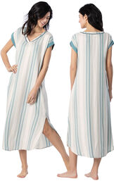 Model wearing Blue and White Stripe Margaritaville Gown for Women, facing away from the camera and then to the side image number 1