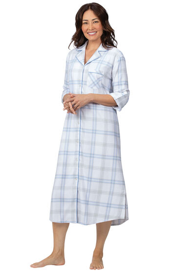 Addison Meadow|PajamaGram Frosted Flannel Nightgown - Blue Plaid