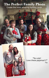 "Customer Photos of St. Nick Matching Family Pajamas. Headline: The Perfect Family Photo - Create the most amazing holiday cards. Customer quote: ""So cute! Love these pajamas!!!"" - Tia image number 3"