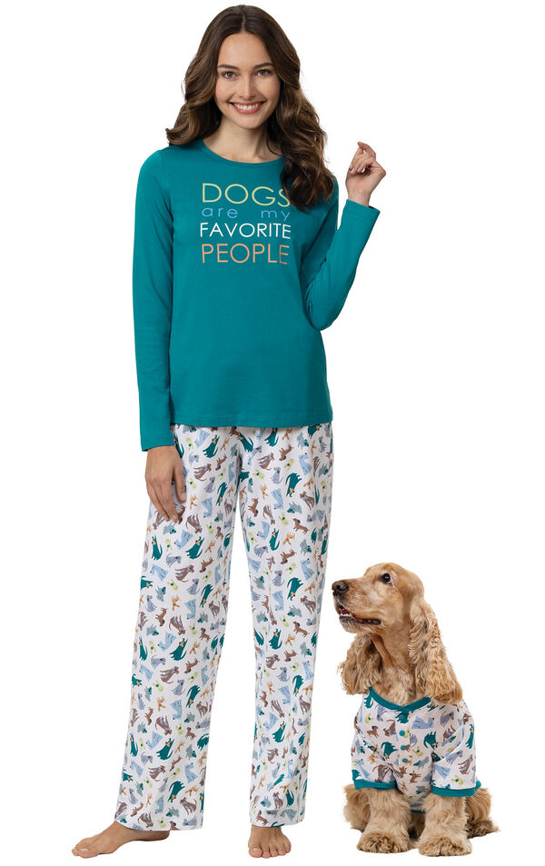 Woman and pet wearing matching Teal and White Dogs are my favorite matching pet and owner pajamas image number 0