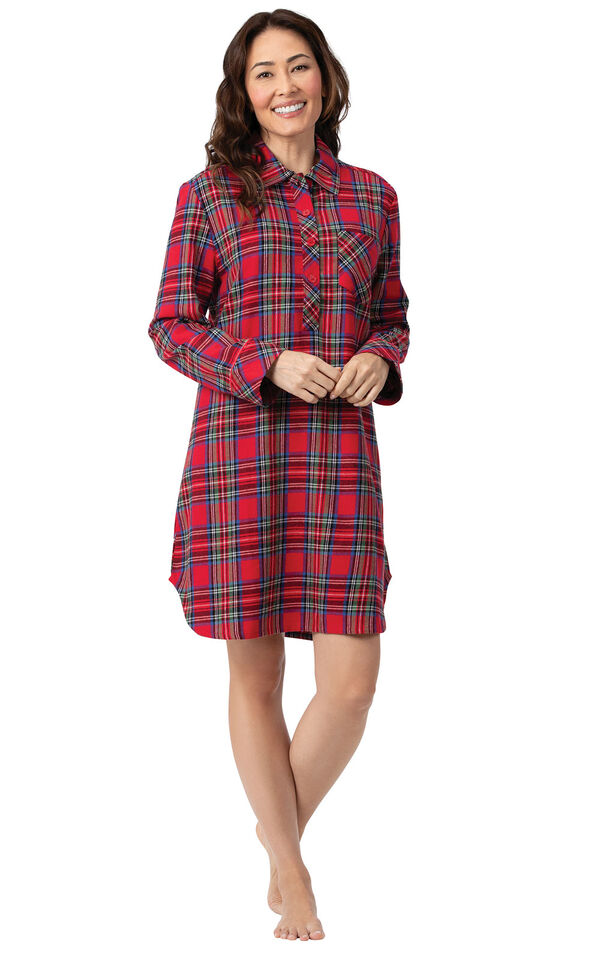 Model wearing Red Classic Plaid Sleepshirt for Women image number 0