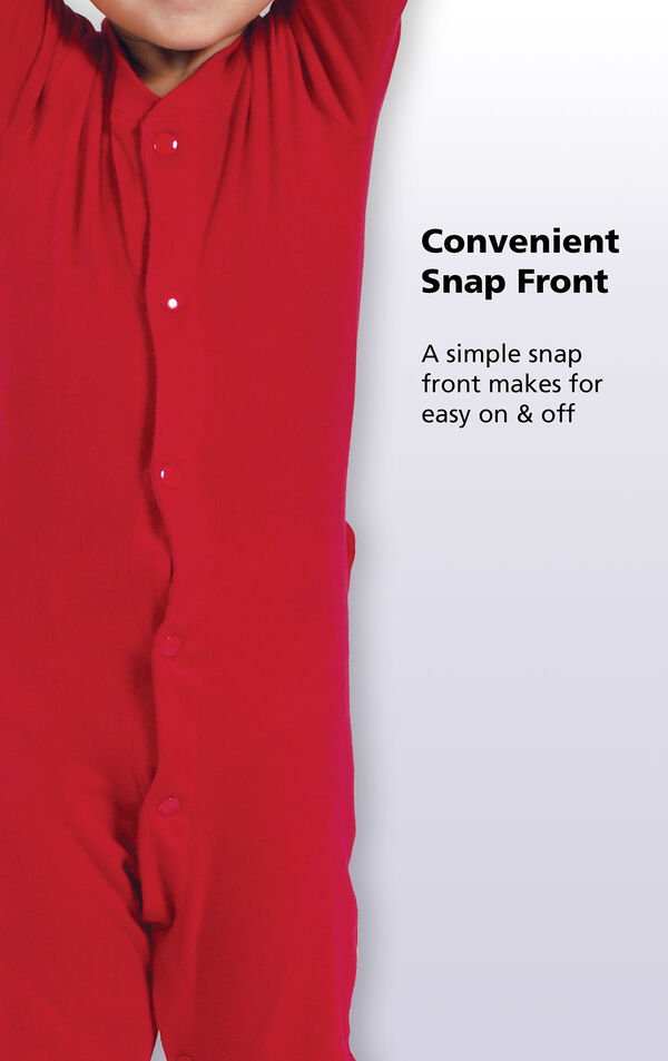 Close up of the Red Dropseat PJ's Convenient Snap Front. A simple snap front makes for easy on and off. image number 3