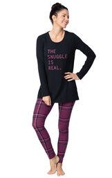 Model wearing Long Sleeve and Legging Pajamas - Plum Plaid image number 0