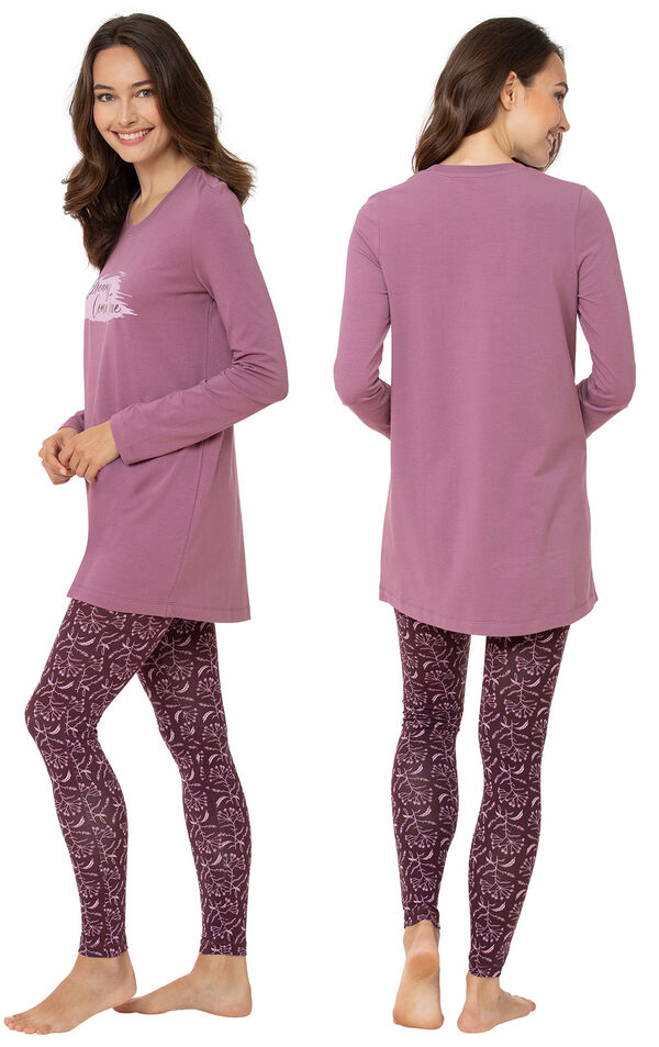 Model wearing Model wearing Long Sleeve and Legging Pajamas - Plum Floral, facing away from the camera and then facing to the side image number 1