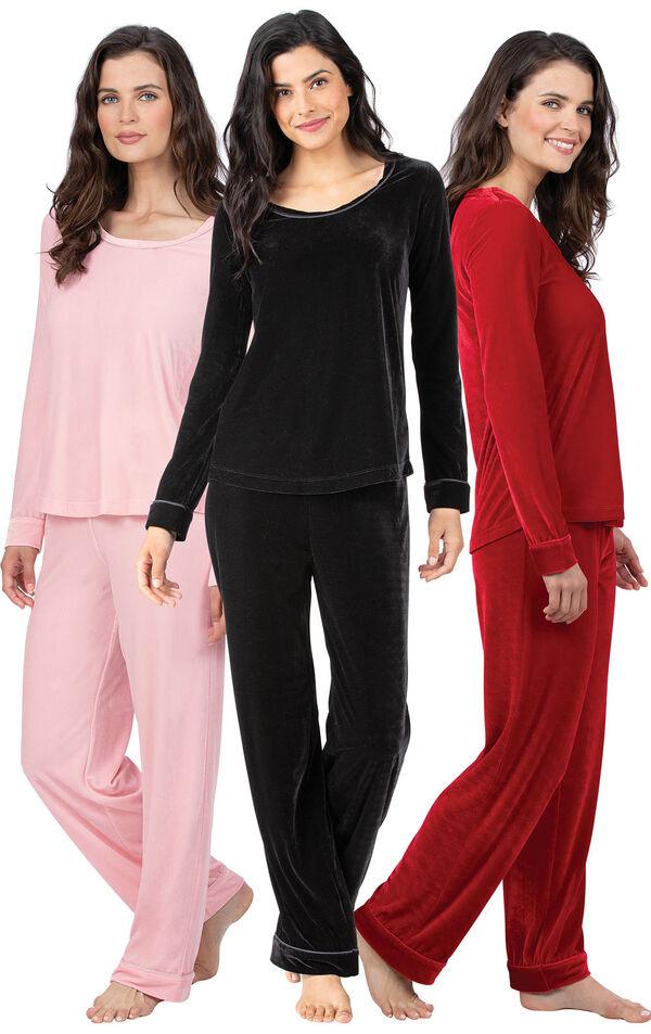 Models wearing Velour Long-Sleeve Pajamas - Pink, Velour Long-Sleeve Pajamas - Ruby and Velour Long-Sleeve Pajamas - Black. image number 0