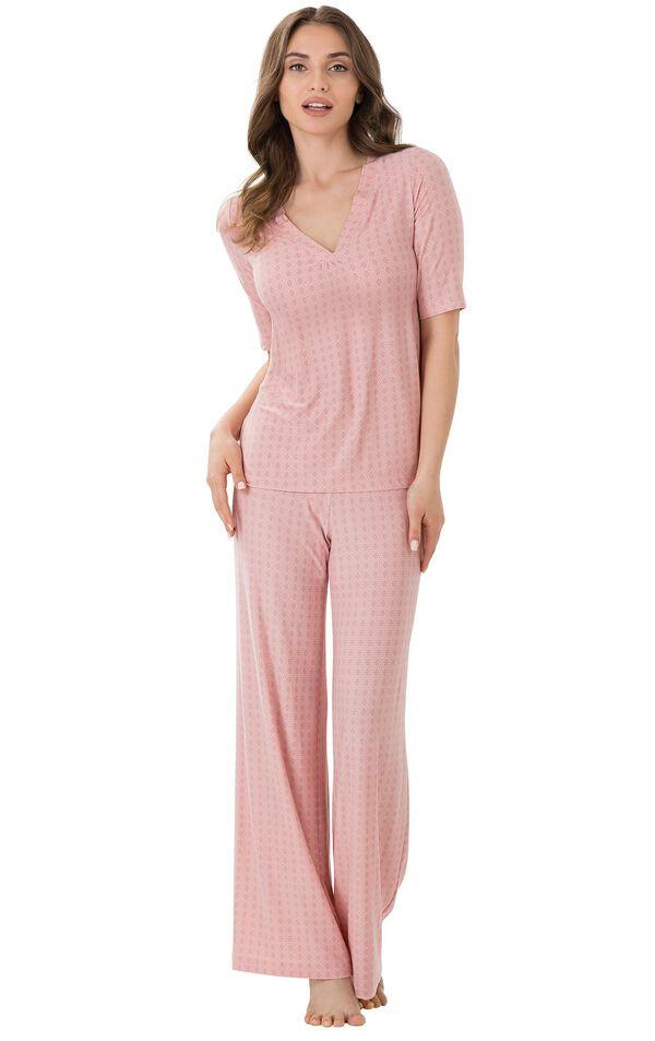 Model wearing Light Pink Stretch Knit Geo Print PJ for Women image number 0