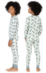 Model wearing Green Pine Tree PJ for Kids, facing away from the camera and then to the side image number 1