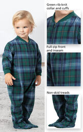 Close-ups of Heritage Plaid Infant Onesie Pajamas features which include Green rib-knit collar and cuffs, full-zip front and inseam and non-skid treads. image number 3