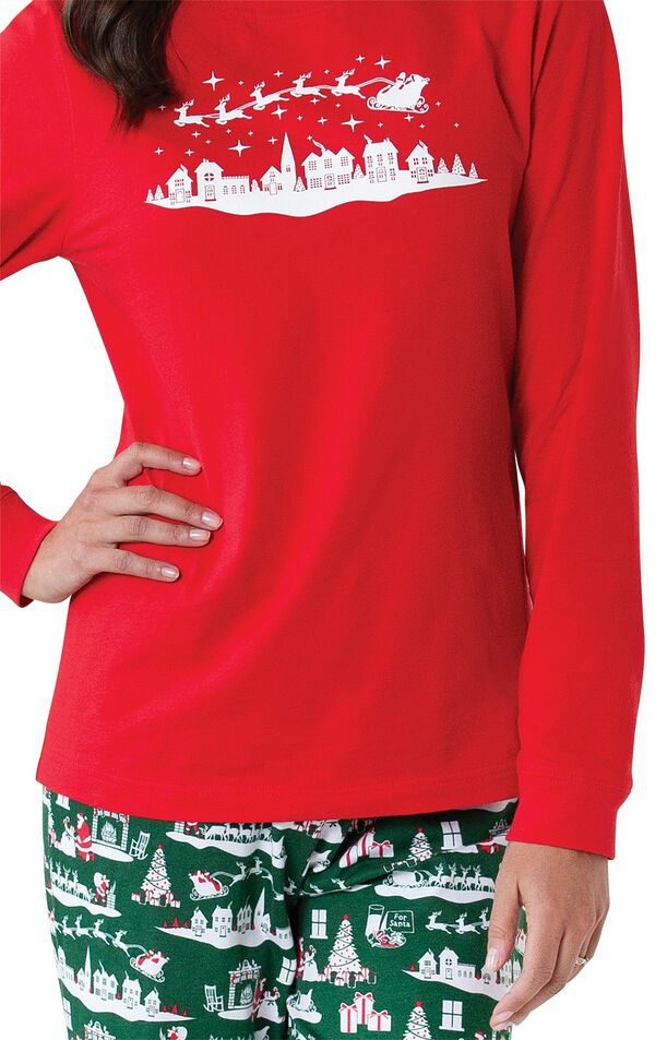 Close-up of red long-sleeve top with white graphic on The Night Before Christmas Women's Pajamas image number 2