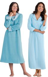 Models wearing World's Softest Nighty -Teal and Oh-So-Soft Pin Dot Nighty - Blue. image number 0