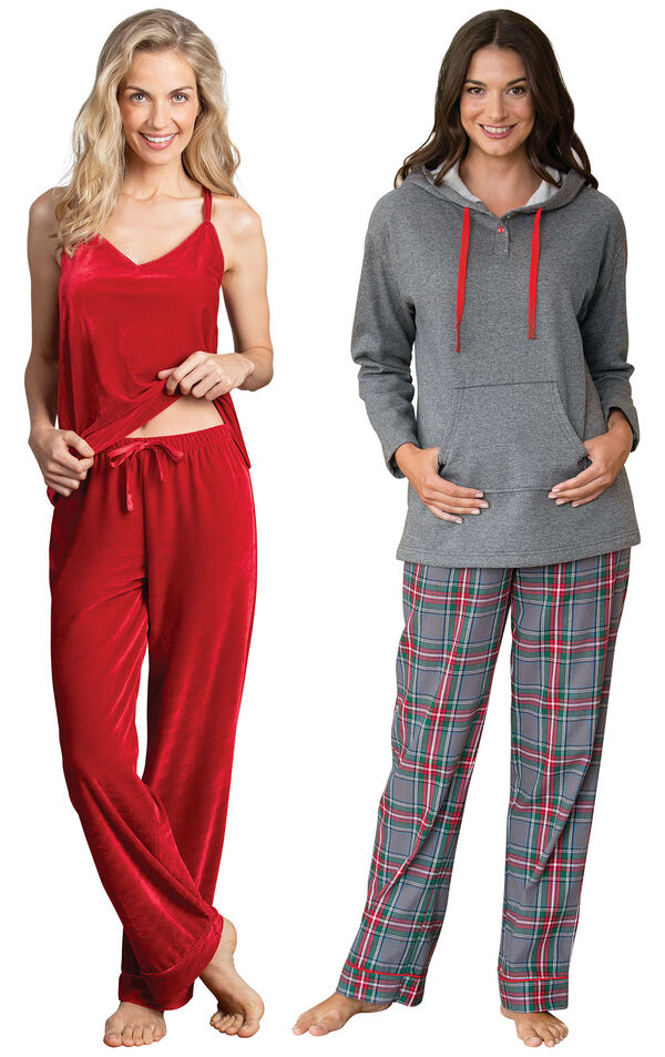 Models wearing Gray Plaid Hooded Pajamas and Velour Cami Pajamas - Ruby. image number 0