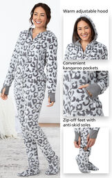 Close-ups of the features of Snow Leopard Hoodie-Footie which include a warm adjustable hood, convenient kangaroo pockets and zip-off feed with anti-skid soles image number 3