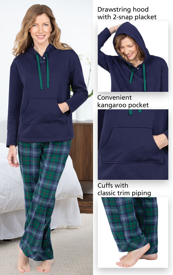 Heritage Plaid Hooded Women's Pajamas feature a drawstring hood with 2-snap placket, convenient kangaroo pocket and cuffs with classic trim piping image number 3