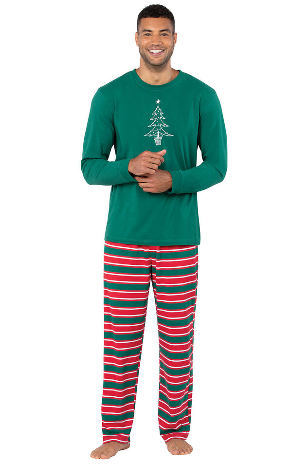 Model wearing Red and Green Christmas Stripe PJ for Men image number 0