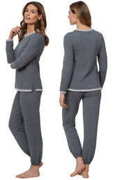 Model wearing World's Softest Gray PJ for Women, facing away from the camera and then facing to the side image number 1