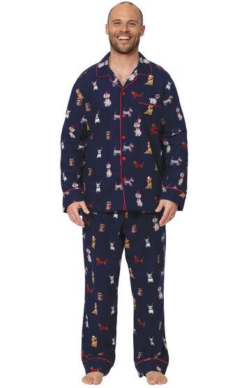 Christmas Dogs Men's Pajamas - Navy Blue