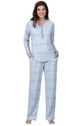 Model wearing Whisper Knit Henley Pajamas - Blue Fair Isle image number 0