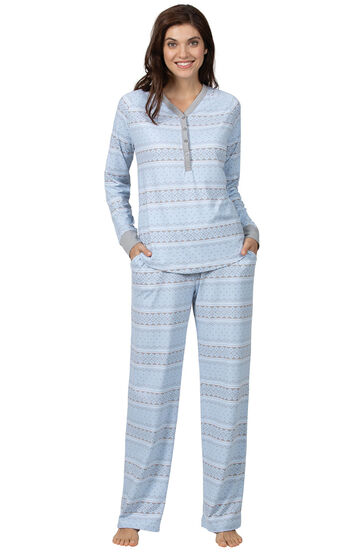 Addison Meadow|PajamaGram Whisper Knit Pajamas Henley PJs - Blue Fair Isle