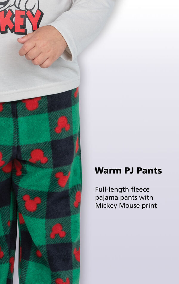 Full-length fleece pajama pants with mickey mouse print image number 2