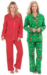 Models wearing Polka-Dot Boyfriend Flannel Pajamas - Red and Charlie Brown Christmas Pajamas.