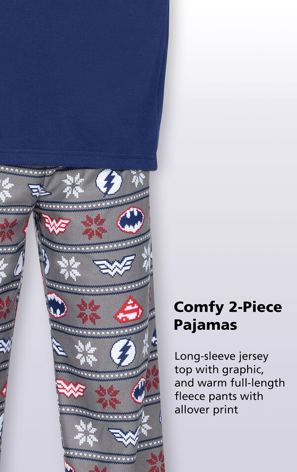 Close-up of Gray Fleece Justice League PJ bottoms with the following copy: Long-sleeve jersey top with graphic, and warm full-length fleece pants with allover print image number 3