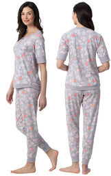 Model wearing Gray Flower Print Jogger PJ for Women, facing away from the camera and then to the side image number 1