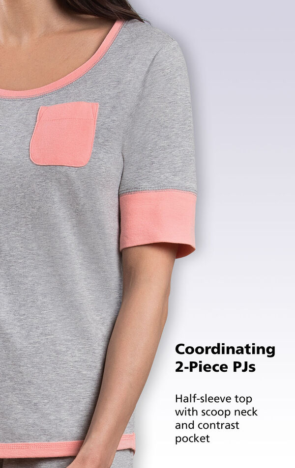 Close-up of Cozy Capri PJs Half-sleeve top with scoop neck and contrast pocket image number 4