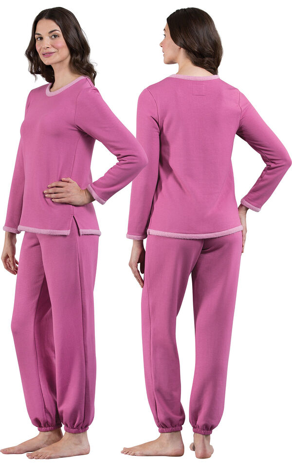 Model wearing World's Softest Pink PJ for Women, facing away from the camera and then facing to the side image number 1