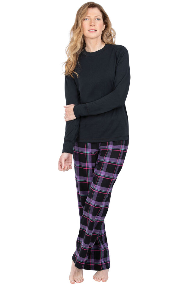 Model wearing Black and Purple Plaid PJ for Women image number 0