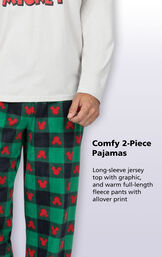 Full-length red and green fleece pajama pants with mickey mouse print image number 3