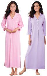 Models wearing Classic Polka-Dot Nighty - Pink and Classic Polka-Dot Nighty - Lavender. image number 0