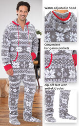 Close-ups of the features of Hoodie-Footie™ for Men - Nordic Fleece which include  a warm adjustable hood, convenient kangaroo pockets and zip-off feet with anti-skid soles image number 2