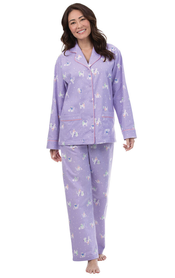 Model wearing Purple Flannel Cat Print Button-Front PJ for Women image number 0