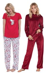 Models wearing Snoopy's Valentine Pajamas and Tempting Touch PJs - Garnet.