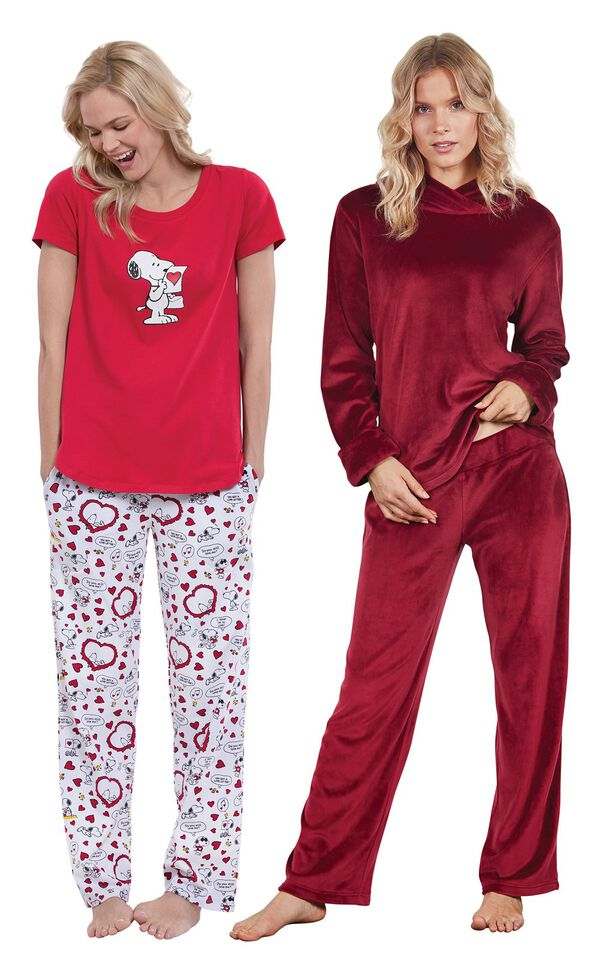 Models wearing Snoopy's Valentine Pajamas and Tempting Touch PJs - Garnet. image number 0