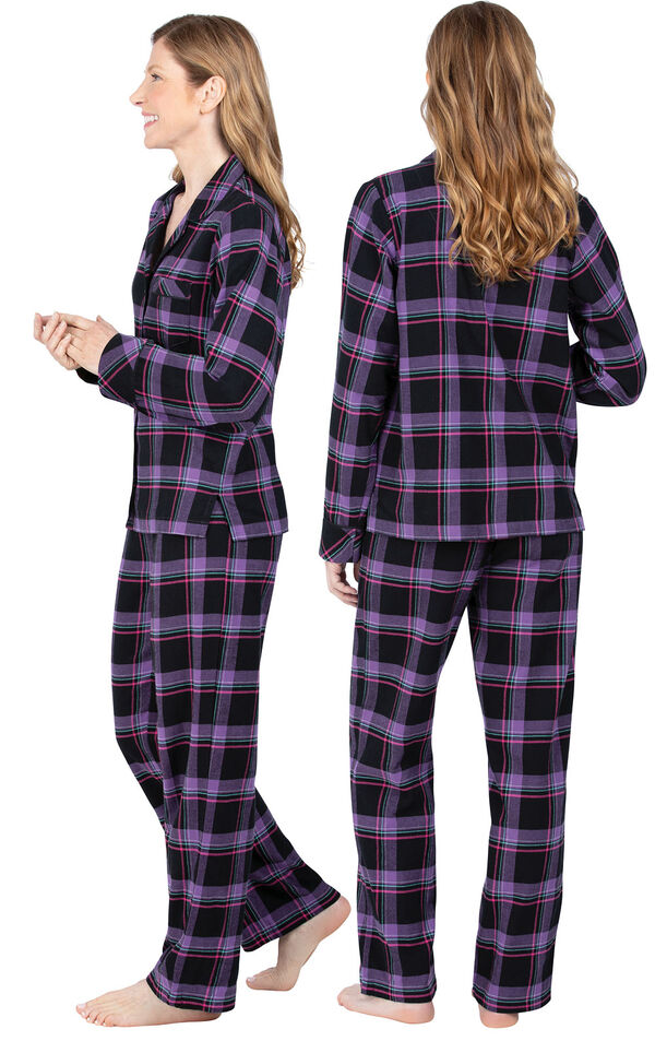 Model wearing Black and Purple Plaid Button-Front PJ for Women, facing away from the camera and then to the side image number 1