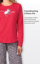 Coordinating 2-Piece PJs - long-sleeve cotton red shirt and gray flannel pants feature playful snowman print image number 3