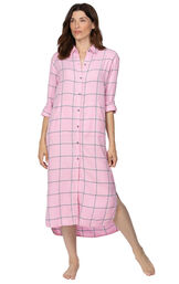 Model wearing Light Pink and Gray Plaid Gown for Women image number 0