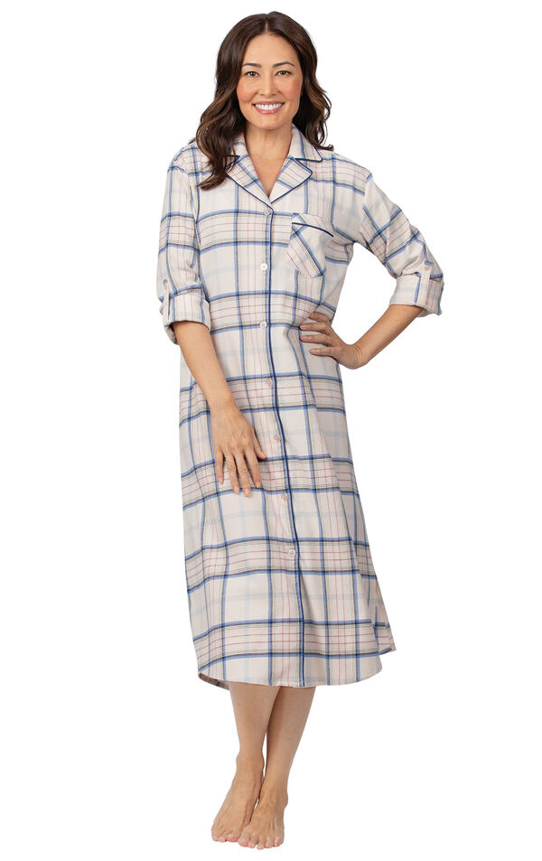 Addison Meadow PajamaGram Frosted Flannel Nightgown in Pink Plaid image number 0