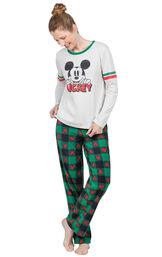 Model wearing Red and Green Mickey Holiday PJs for Women