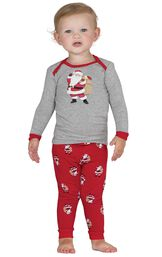 Model wearing Red and Gray Santa Print PJ for Infants