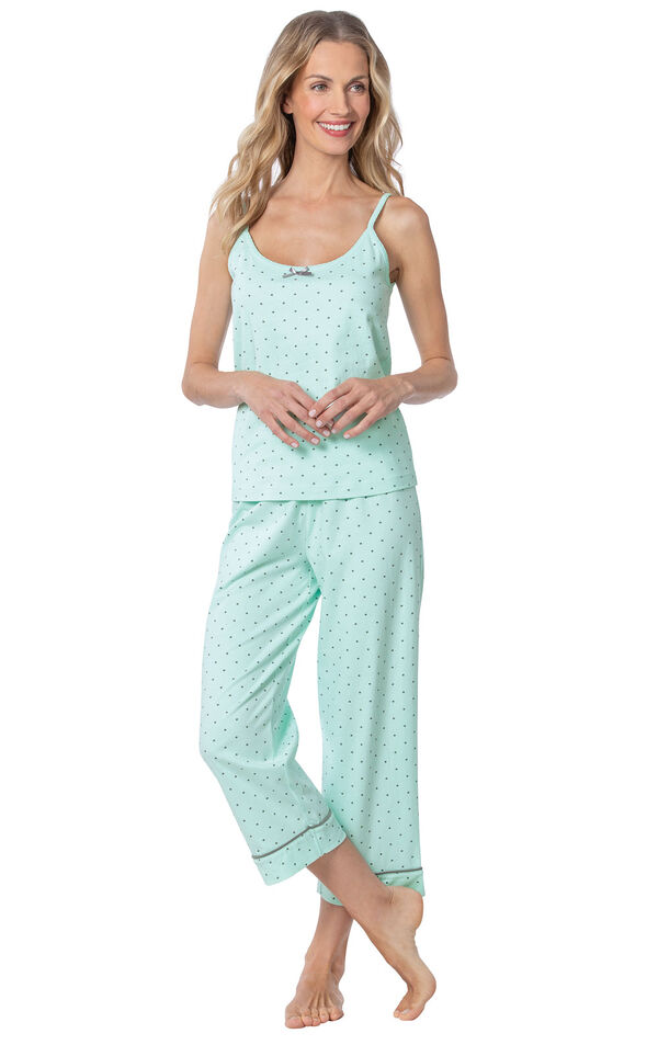 Model wearing Mint and Gray Polka Dot Cami PJ for Women image number 0