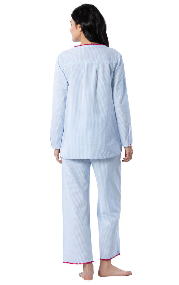 Model wearing Blue and White Stripe PJ with Pink Trim for Women, facing away from the camera image number 1