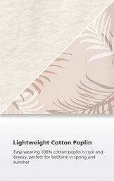 Tan fabric swatch with the following copy: Easy-wearing 100% cotton poplin is cool and breezy, perfect for hot nights and vacations image number 4