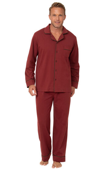 Classic Button-Front Men's Pajamas - Brick