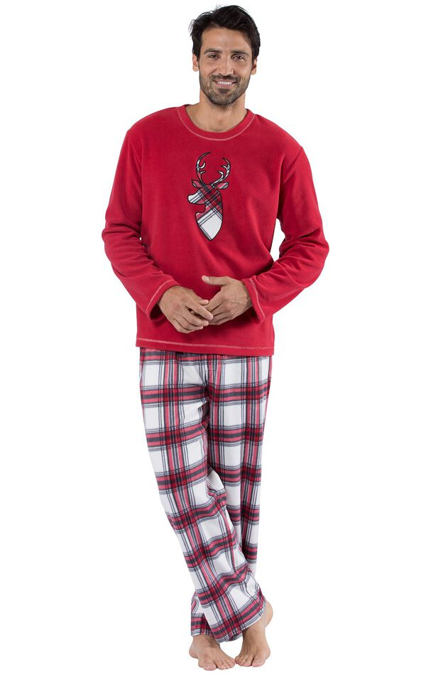 Model wearing Red and White Plaid Fleece PJ for Men image number 0