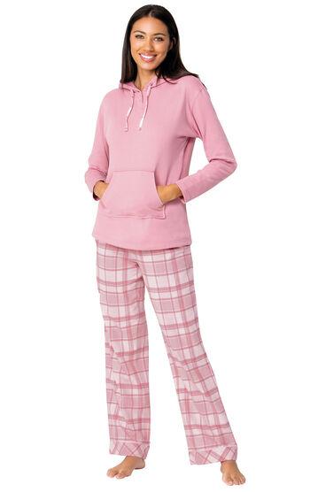Glitzy Pink Plaid Hooded Pajamas