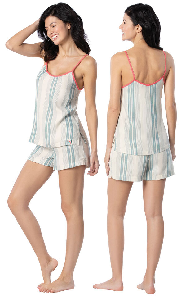 Model wearing Blue and White Stripe Margaritaville Cami Short Set for Women, facing away from the camera and then to the side image number 1