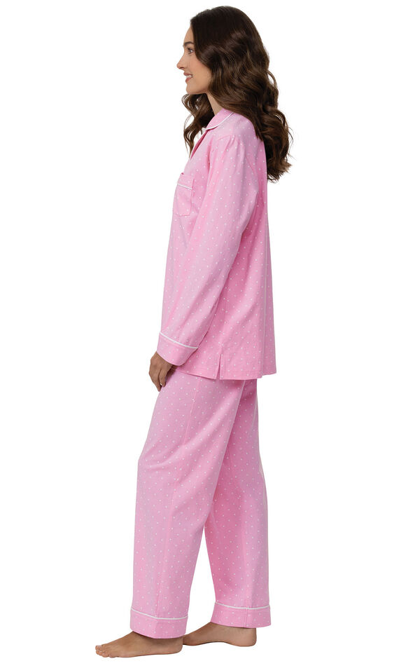 Model wearing Pink Pin Dot Button-Front PJ for Women facing to the side image number 2
