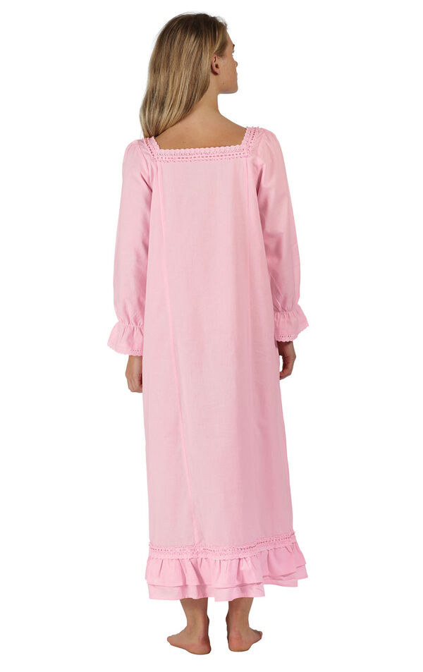 Model wearing Martha Nightgown in Pink for Women, facing away from the camera image number 1